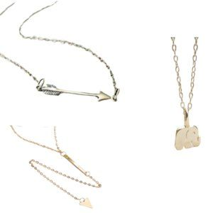 GOLDEN THREADS MINIMALIST NECKLACES LOT OF 3